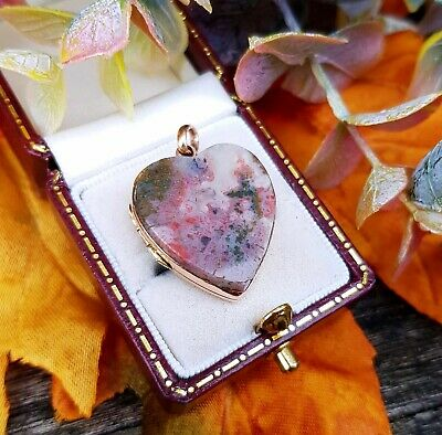 Antique Victorian 9ct Yellow Gold Pink Moss Agate Love Heart Locket Pendant