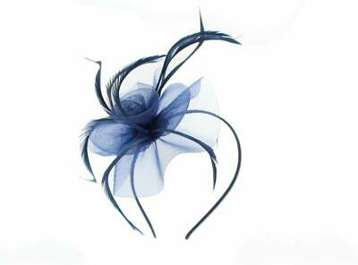 5873 Navy centre net flower and feather fascinator on a matching coloured ribbon