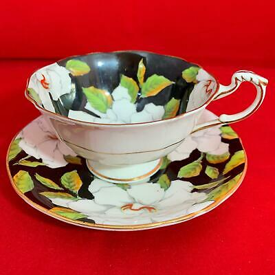 Paragon White Rose Tea Cup & Saucer, Double Warrant, 1930's vcg (4 Available)