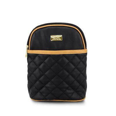 Isoki Bottle/Snack Bag, Black + Tan Quilted