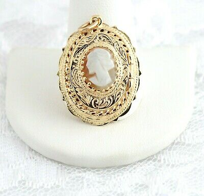 14K Cameo Locket Pendant Gold Antique Victorian Style Art Deco Filigree Fancy