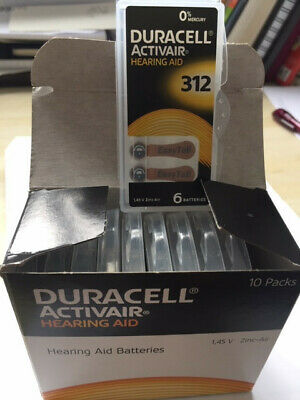 DURACELL ACTIVAIR Size 312, box with 10 packs of 6 batteries