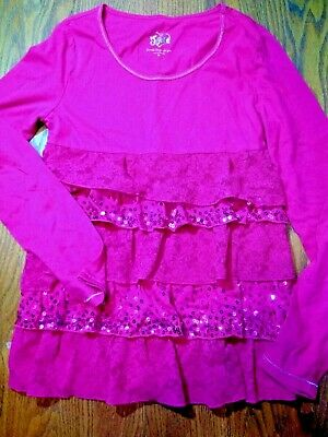 Justice Girls Top Shirt Size 12 Hot Pink Sequins Ruffle Tie Back Long Sleeve