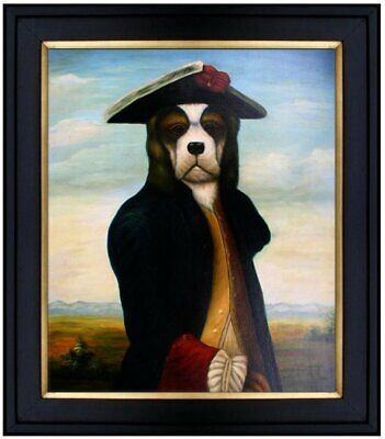 Framed, Quality Hand Painted Oil Painting, Dog with Hat, 20x24in
