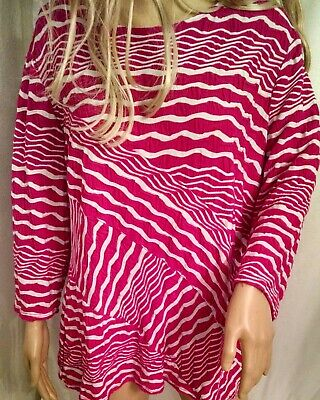 """Ladies Investments II Blouse Size 1X Pink & White Stripes Bust 42"""" Long Sleeves"""