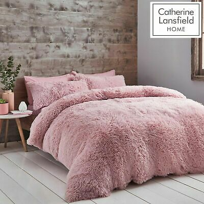Catherine Lansfield Cuddly Fluffy Soft Cosy Duvet Cover Bedding Set Blush Pink