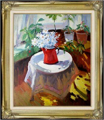 Framed Quality Hand Painted Oil Painting Corner of a Patio, 20x24in