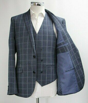Men's Unbranded 3pc Suit in Checked Navy Blue (40R)..Sample 6504