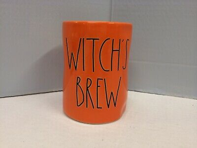 New Rae Dunn WITCH'S BREW Halloween Candle Ceramic Orange LL Large Letter