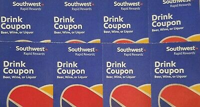 (x8) Southwest Airlines Coupons Drink Voucher Exp 5/31/2020 Fast Shipping