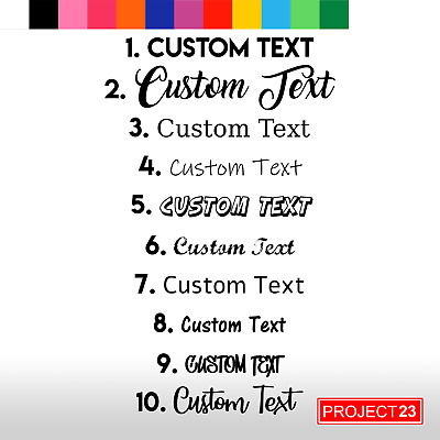 CUSTOM TEXT Personalised Name Lettering Funny Car/Van/Window Decal Sticker Home