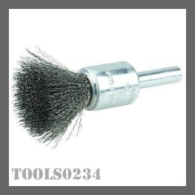 """Weiler 10001 1/2"""" Crimped Wire Cup Brush - .006"""" - Steel Fill - 3/4"""" Stem"""