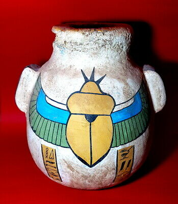 Rare large Vessel Faience Egyptian Antique Carved Treasure ankh winged scarab