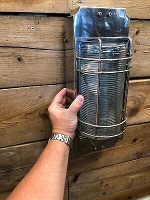 Vintage Industrial Outdoor Wall Light in antique silver cage modern lamps
