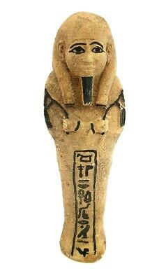 Rare Shabti Egyptian Ancient Faience Ushabti Period Hieroglyphic Egypt Stone art