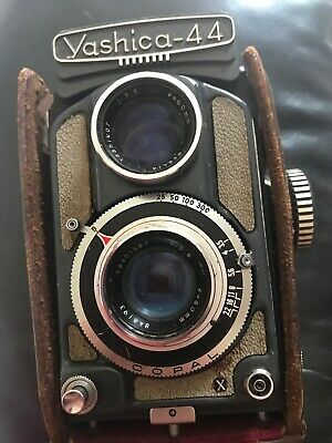 Yashica-44 Vintage Camera Twin Lens In Brown Leather Case Collectors Rare