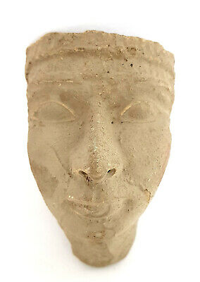 Rare Ancient Egyptian Royal Clay Mummy burial mask Queen antique carved stone