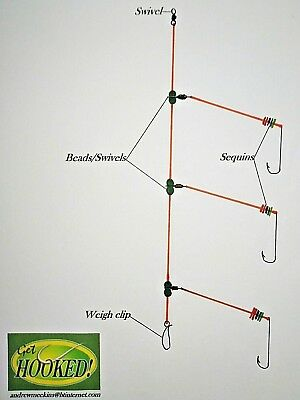 4 X Three hook Wessex sea fishing rig/'s made with 2//0 hook/'s.