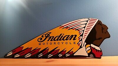 Vintage Porcelain Indian Motorcycle Service Station Gas Bike Auto Chief Sign