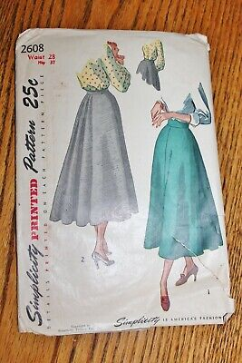 Simplicity Vintage Sewing Pattern #2608 1940'S Skirts Waist 28 Hips 37 Instructi