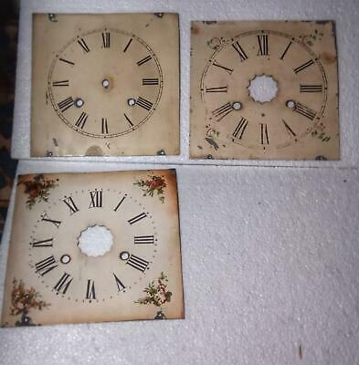 Three Antique American Hand Painted Zinc Og Type Clock Dials
