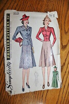 Simplicity Vintage Sewing Pattern #3321 1940'S Skirt W Jacket Sz16 Instructions