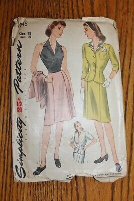 Simplicity Vintage Sewing Pattern #1045 1940'S 2Pc Dress Dicky Sz16 Instructions