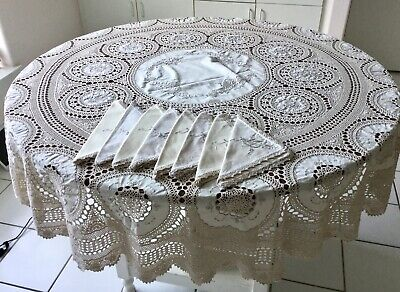 """Vintage Round Moroccan Crochet Tablecloth Topper 68"""" Hand Embroidered  8 Napkins"""