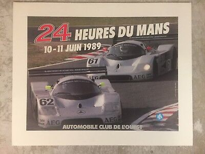 1989 24 Hours of Le Mans Mercedes Benz M-119 Event Poster RARE Awesome L@@K