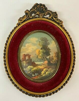 Antique Miniature Picture Oil Painting  Framed hand painted Landscape Signed