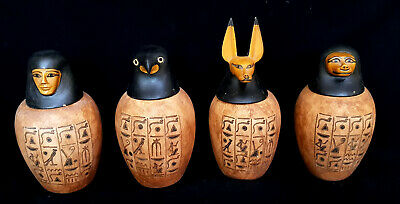 Huge ancient Egyptian Complete Set of Amarna Canopic Jars  Antique hieroglyphic
