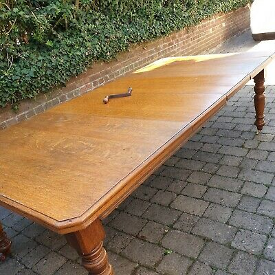 Oak Victorian or Edwardian antique extending dining table seats 10/12