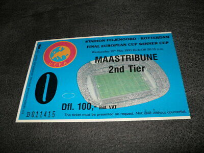 Ticket European Cup Winner Cup  Final Manchester United - Fc Barcelona 15-5-1991
