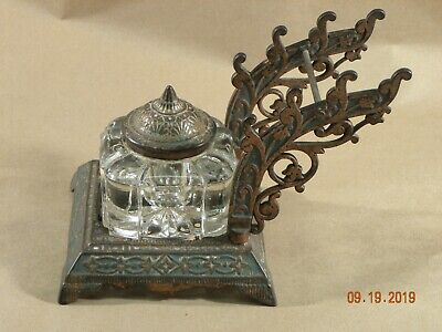 Antique Inkwell Eastlake Victorian Cast Iron Pen Holder Patented 1877