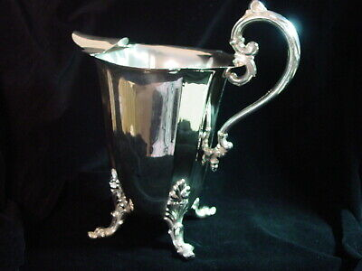 Vintage Footed Silver Plated Water Pitcher W / Ice Lip And Panel Design