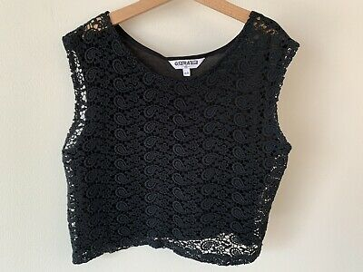 Girls New Look Lace Crop Top Age 12-13 Black