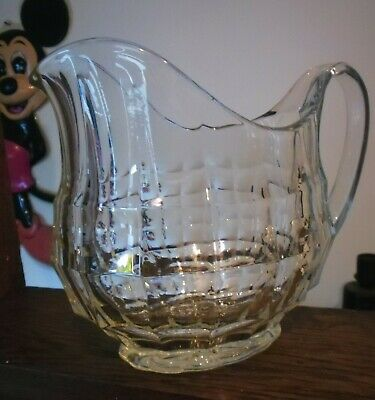"Beautiful Antique Dippled Glass  Large Water Jug ""Quality Item"" Summer Pitcher ."