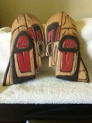 """PAIR OF Vintage Wooden Hand Carved Figures  6 """" SIGNED BY CARVER"""