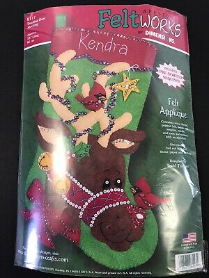 "Dimensions Felt Applique Stocking Kit DAZZLING DEER 8117 18"" Reindeer"