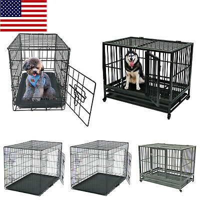 "48""/42""/36""/30"" Pet Kennel Cat Dog Folding Crate Wire Metal Cage W/Divider USA"
