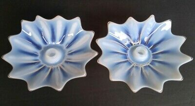 Pair Of Mid Century Modern Starburst Candle Holders- Opaque Vintage Art Glass