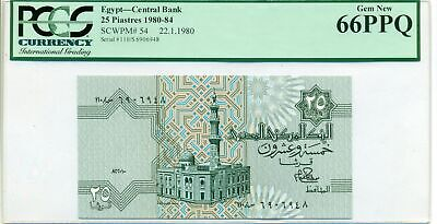Egypt 1980-84 25 Piastres Bank Note Gem New 66 PPQ PCGS Currency