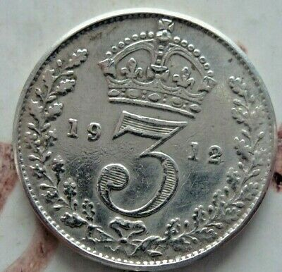 1912 SOLID SILVER ANTIQUE COIN 3d THREE PENCE ,GOOD CONDITION (475)