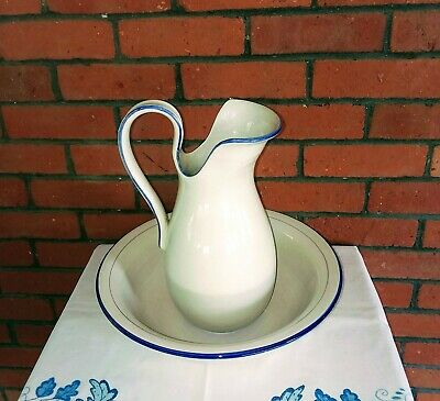 Graceful Italian Mid Century ceramic white, with blue borders Pitcher & Basin