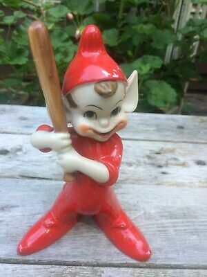 Vintage Ceramic Red Pixie  Elf Sports Baseball Japan Large Thames Hand Painted