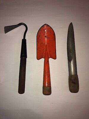Midcentury Modern Gardening Tools Hand Spade, Hoe, & Seed/Bulb Planter