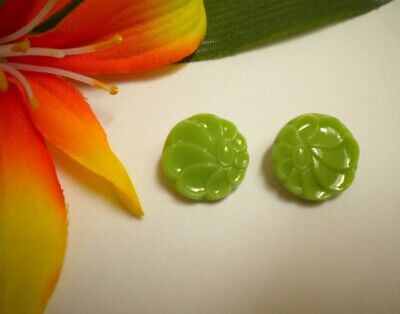 2 Antique Vintage Art Deco Jadeite Green Glass Flower Buttons