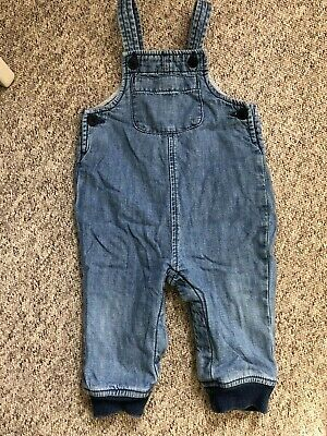 Boys Gap Blue Denim Dungarees Trousers Baby Age 6-12 Months