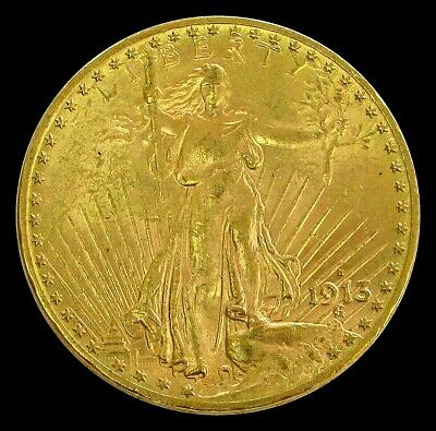 1913 D Gold $20 St. Gaudens Double Eagle Coin Bu