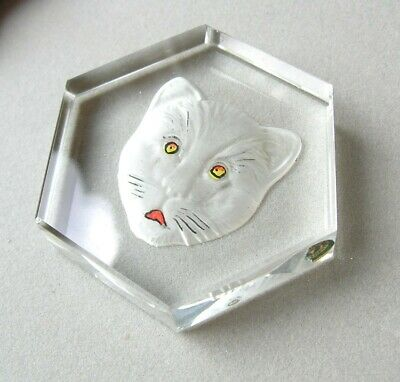 Vintage Art Deco CZECH Frosted Intaglio CAT Glass PAPERWEIGHT